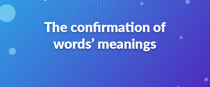 The-confirmation-of-words'-meanings